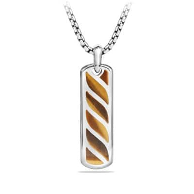Graphic Cable Ingot Tag with Tigers Eye