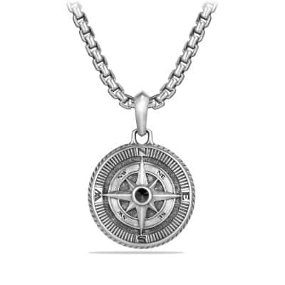 Maritime Compass Amulet with Black Diamond