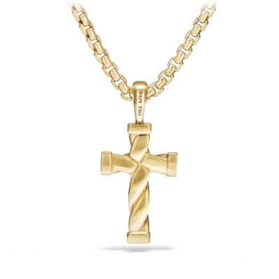 Cable Classics Cross Pendant in 18K Gold