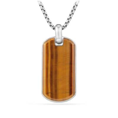 Exotic Stone Tag in Tigers Eye, 42mm