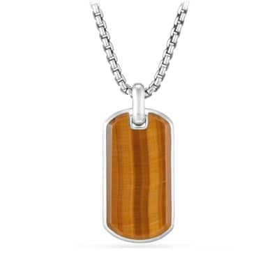 Exotic Stone Tag in Tigers Eye, 35mm