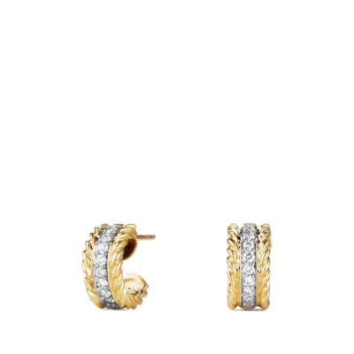 Cable Classics Earrings with Diamonds in 18K Gold