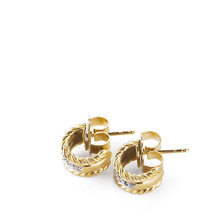 Cable Classics Earrings with Diamonds in Gold