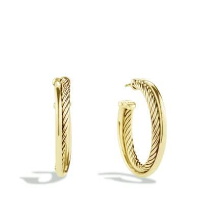 Crossover Medium Hoop Earrings in Gold