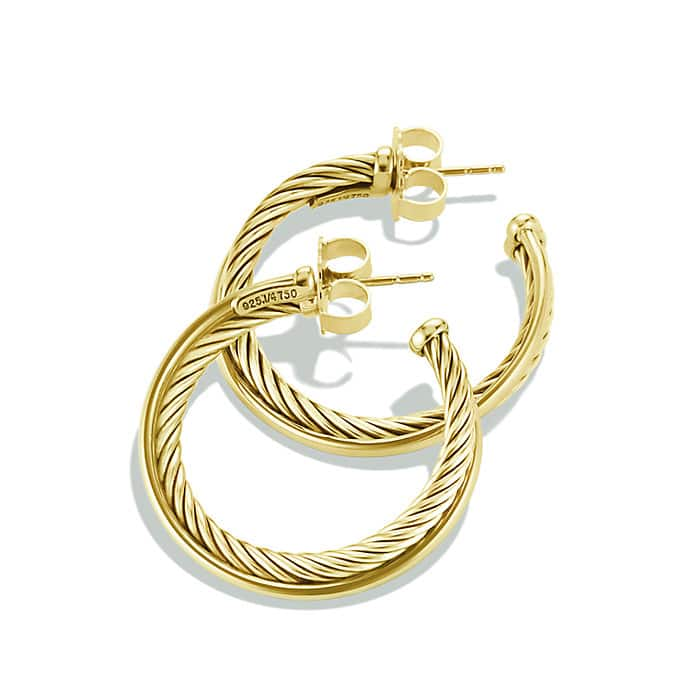 Crossover Medium Hoop Earrings in 18K Gold