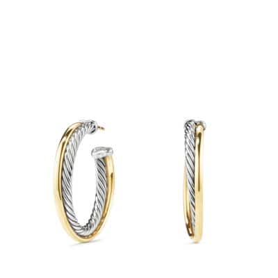 Crossover Hoop Earrings with 18K Gold