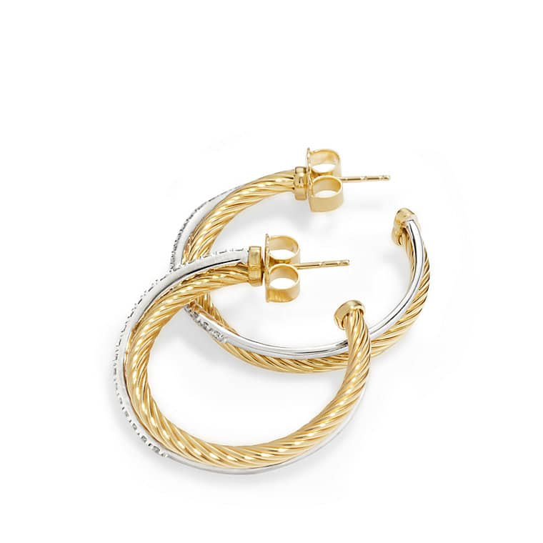 crossover medium hoop earrings with diamonds in 18k gold