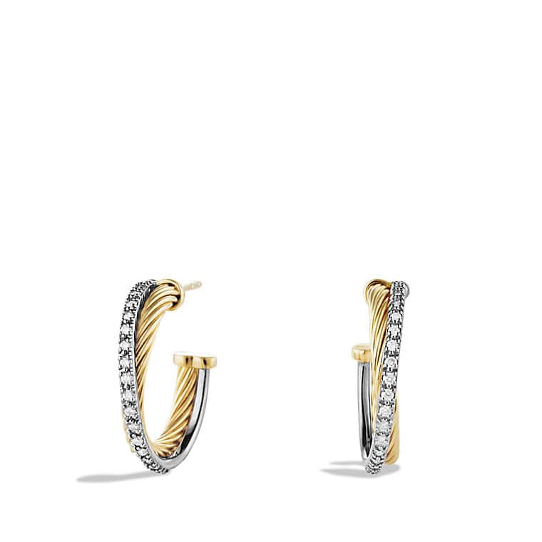 Crossover Small Hoop Earrings with Diamonds