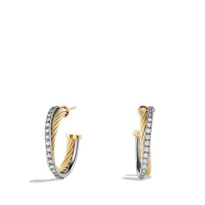 Crossover Small Hoop Earrings with Diamonds and 18K Gold