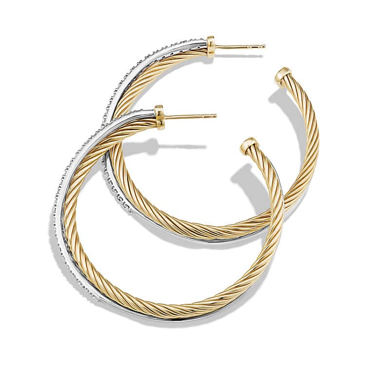 Crossover Extra-Large Hoop Earrings with Diamonds in Gold