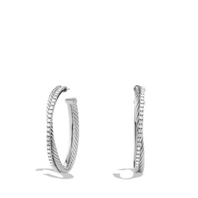 Crossover Extra-Large Hoop Earrings with Diamonds