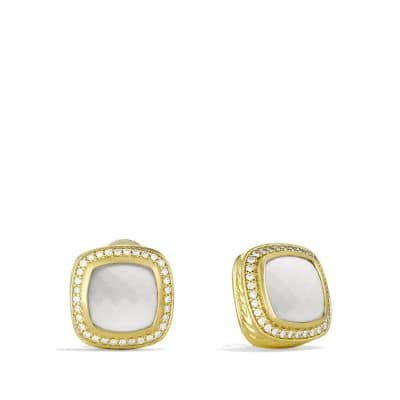 Albion Earrings with White Agates and Diamonds in Gold
