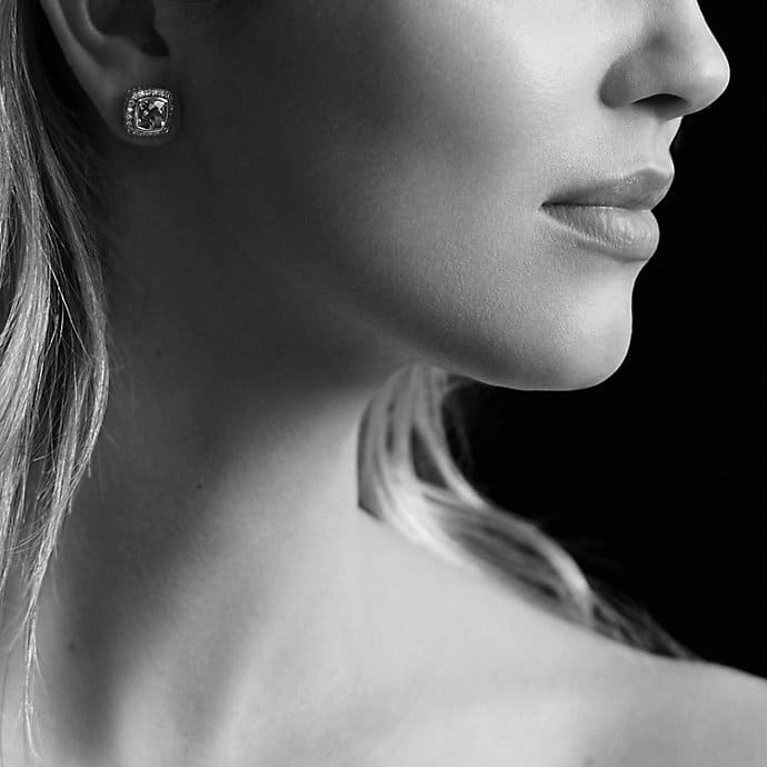Petite Albion Earrings with White Topaz and Diamonds