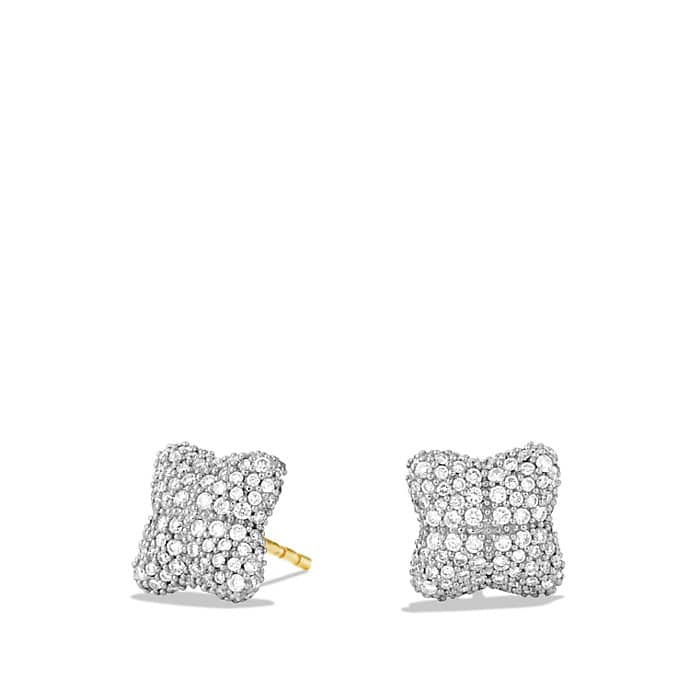 Quatrefoil Earrings with Diamonds in Gold