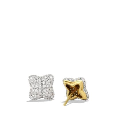 Venetian Quatrefoil Earrings with Diamonds in 18K Gold