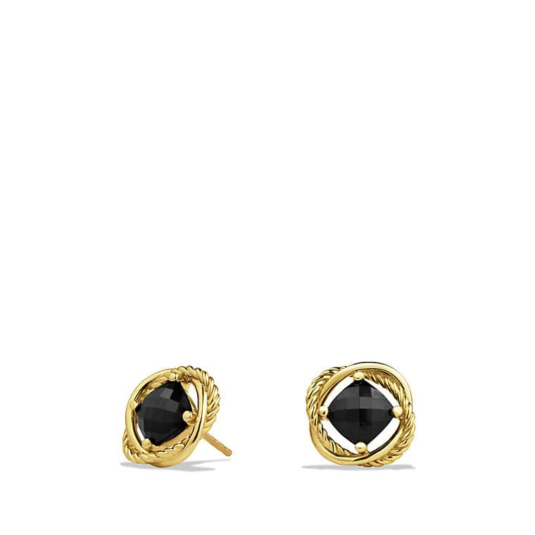 Infinity Earrings with Black Onyx in Gold