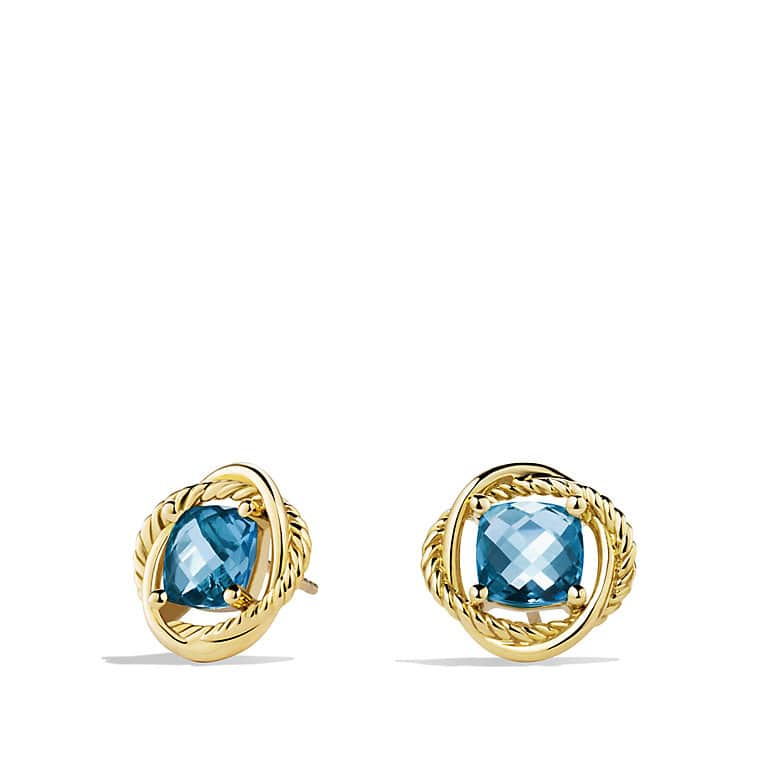 Infinity Earrings with Blue Topaz in Gold