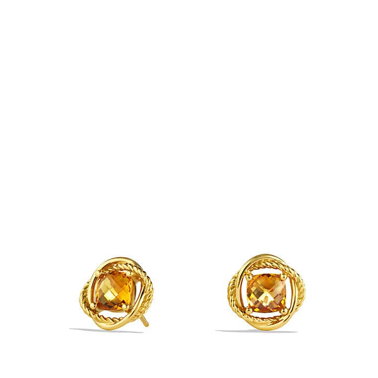 Infinity Earrings with Citrine in Gold