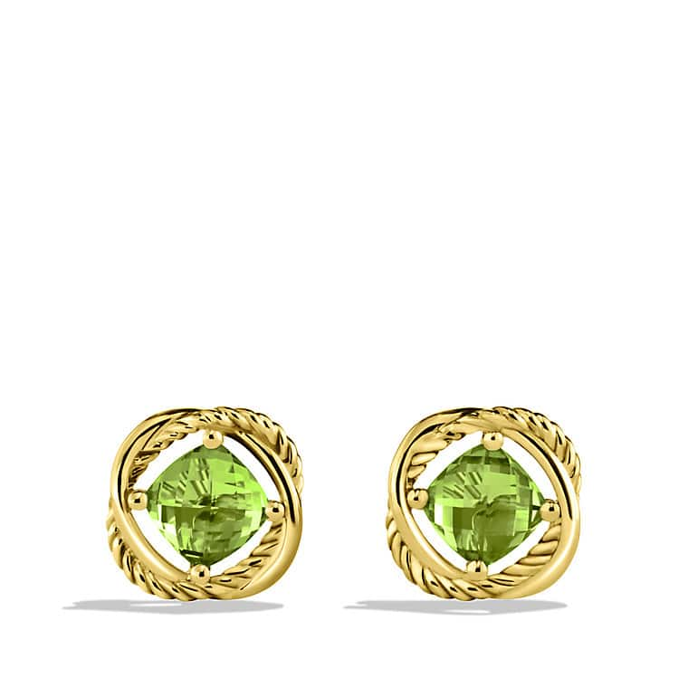 Infinity Earrings with Peridot in Gold