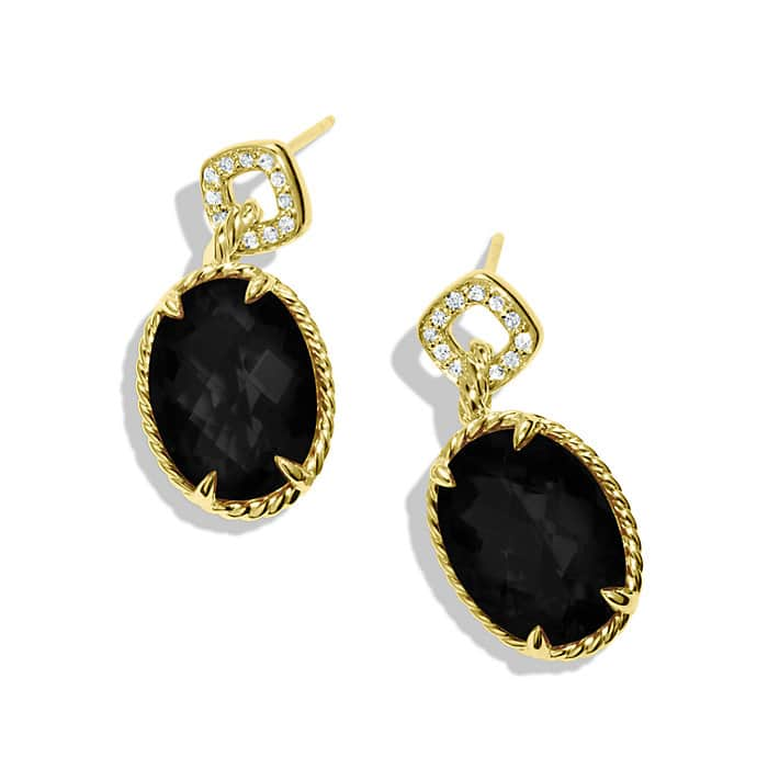 Chatelaine Drop, Earrings with Black Onyxes and Diamonds in Gold