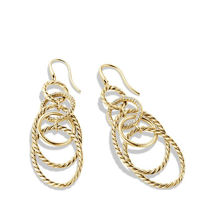 Mobile Link Earrings with Diamonds in Gold