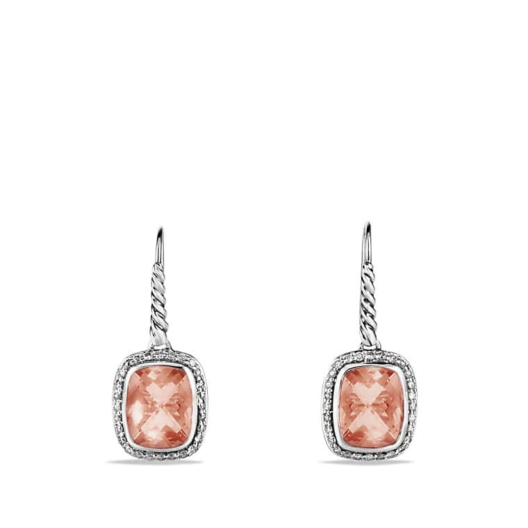 Noblesse Drop Earrings with Morganite and Diamonds