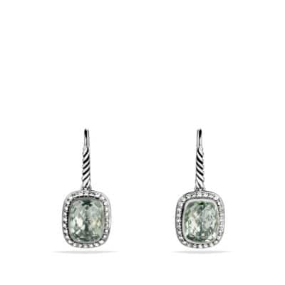 Noblesse Drop Earrings with Prasiolite and Diamonds