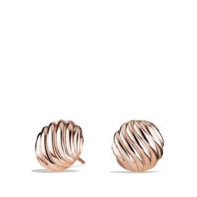 Sculpted Cable Earrings in Rose Gold