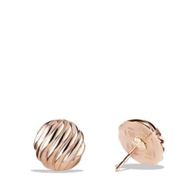 Sculpted Cable Earrings in 18K Rose Gold