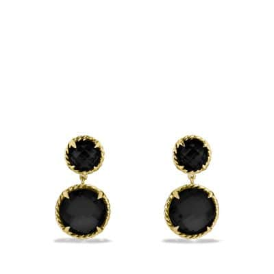 Chatelaine Mini Double-Drop Earrings with Black Onyx in Gold