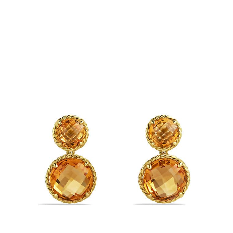 Mini Double-Drop Earrings with Citrine in Gold