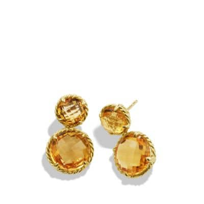 Châtelaine Mini Double-Drop Earrings with Citrine in 18K Gold