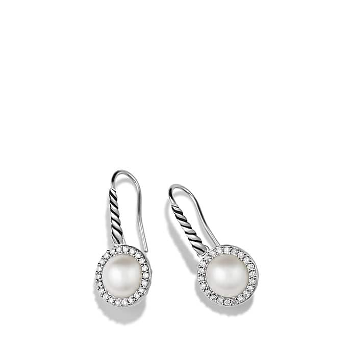 Cable Pearl Drop Earrings with Diamonds