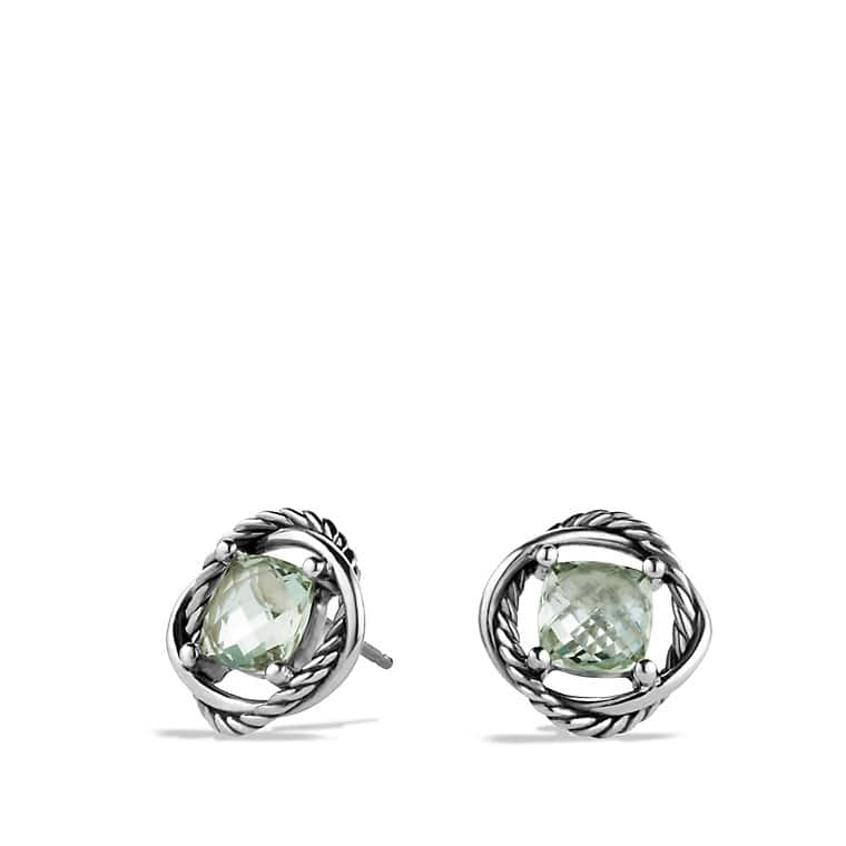 Infinity Earrings with Prasiolite