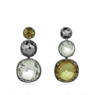 Chatelaine Triple Drop Earrings with Olive Quartz, Prasiolite and Hematine