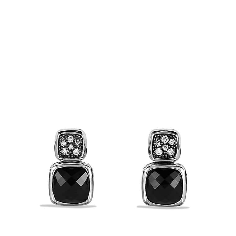 Chiclet Double-Drop Earrings with Black Onyx and Diamonds