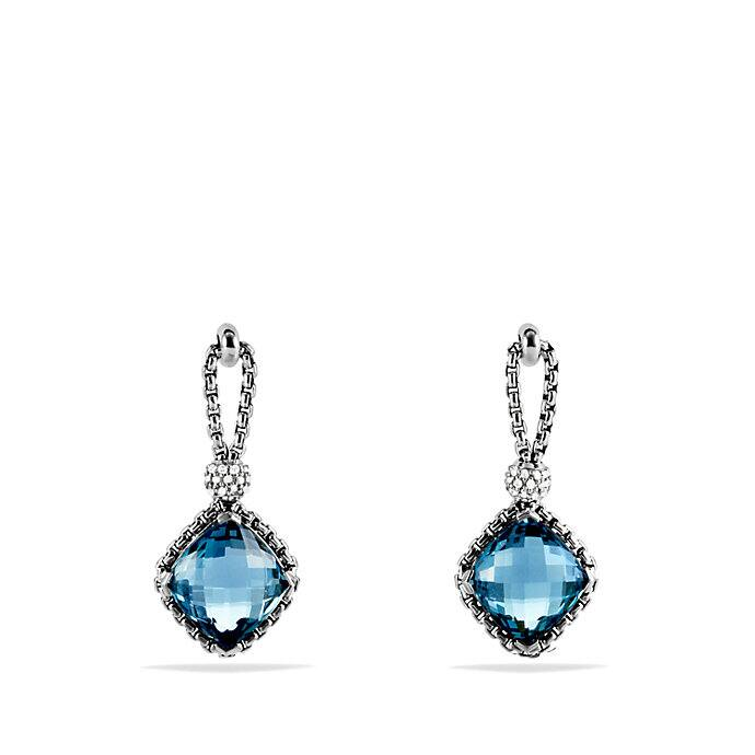 Cushion on Point Earrings with Hampton Blue Topaz and Diamonds