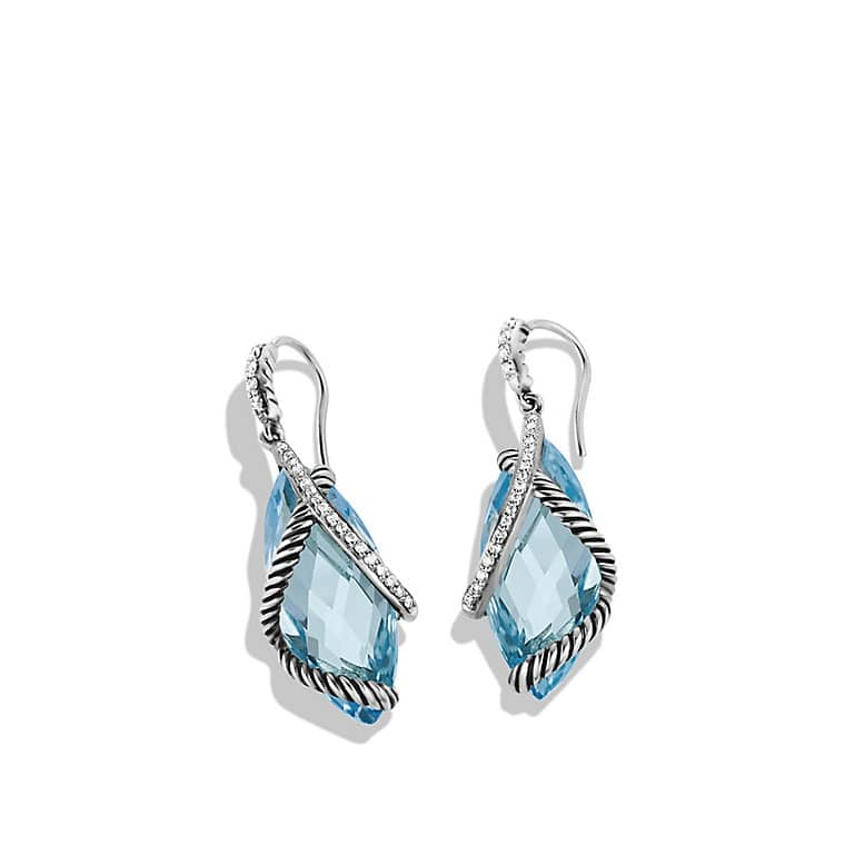 Cable Wrap Drop Earrings with Blue Topaz and Diamonds