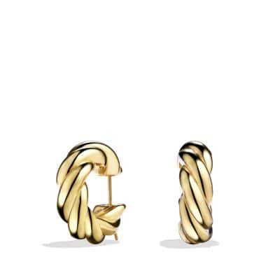 Sculpted Cable Large Earrings in 18K Gold