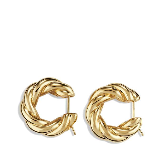 Sculpted Cable Large Earrings in Gold