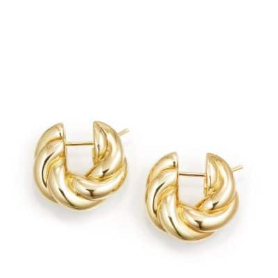 Sculpted Cable Small Earrings in 18K Gold