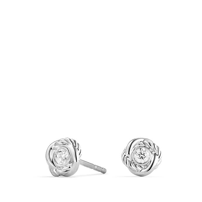 Infinity Earrings with Diamonds in White Gold