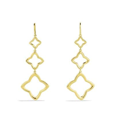 Quatrefoil Triple-Drop Earrings in Gold