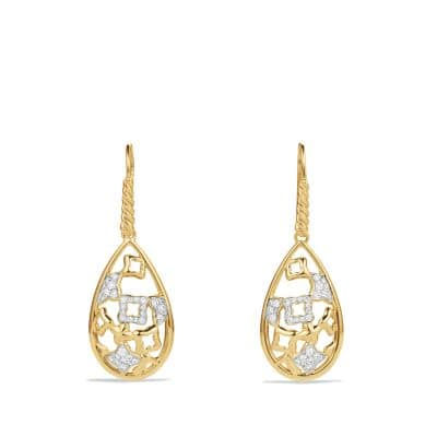 Quatrefoil Drop Earrings with Diamonds in Gold thumbnail