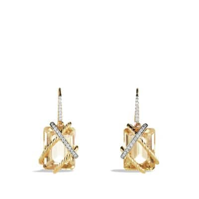 Cable Wrap Drop Earrings with Champagne Citrine and Diamonds in Gold
