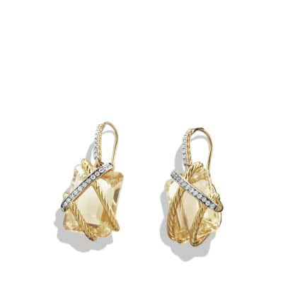 Cable Wrap Drop Earrings with Champagne Citrine and Diamonds in 18K Gold