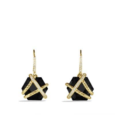 Cable Wrap Drop Earrings with Black Onyx and Diamonds in Gold