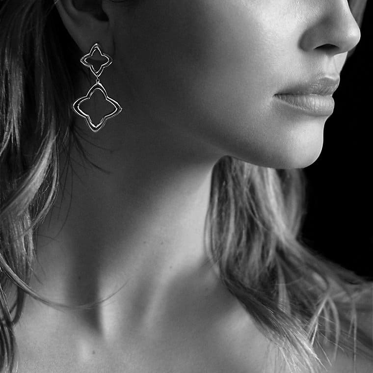 Quatrefoil Double-Drop Earrings