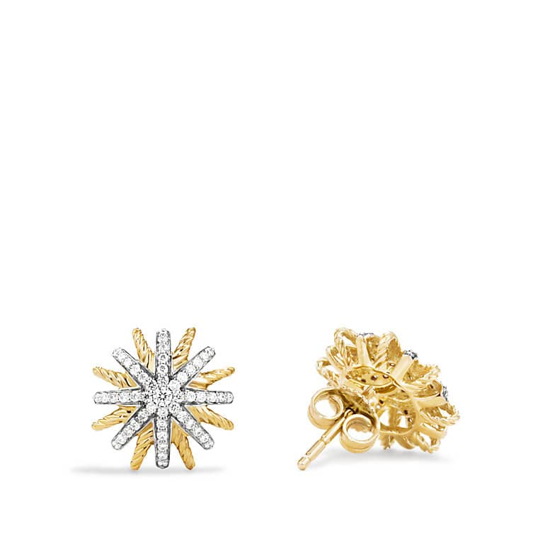 Starburst Earrings with Diamonds in Gold