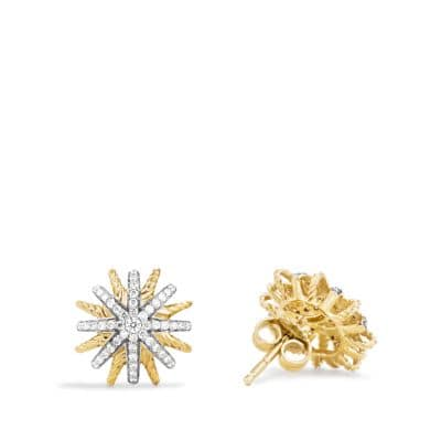 Starburst Earrings with Diamonds in 18K Gold, 14mm